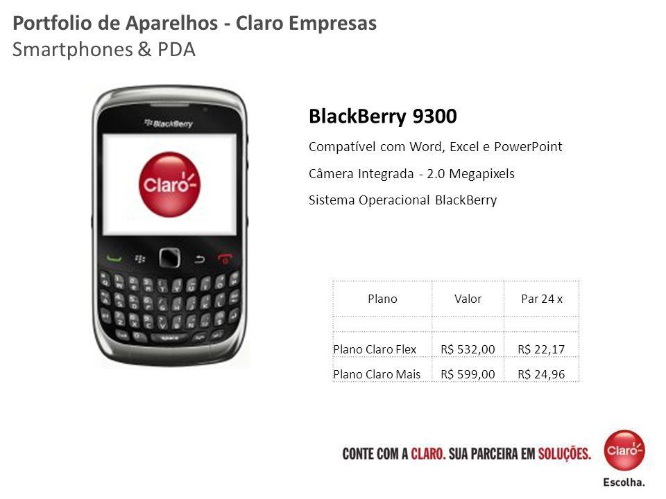 BlackBerry 9300 Compatível com Word, Excel e PowerPoint Câmera Integrada - 2.0 Megapixels Sistema Operacional BlackBerry Portfolio de Aparelhos - Clar