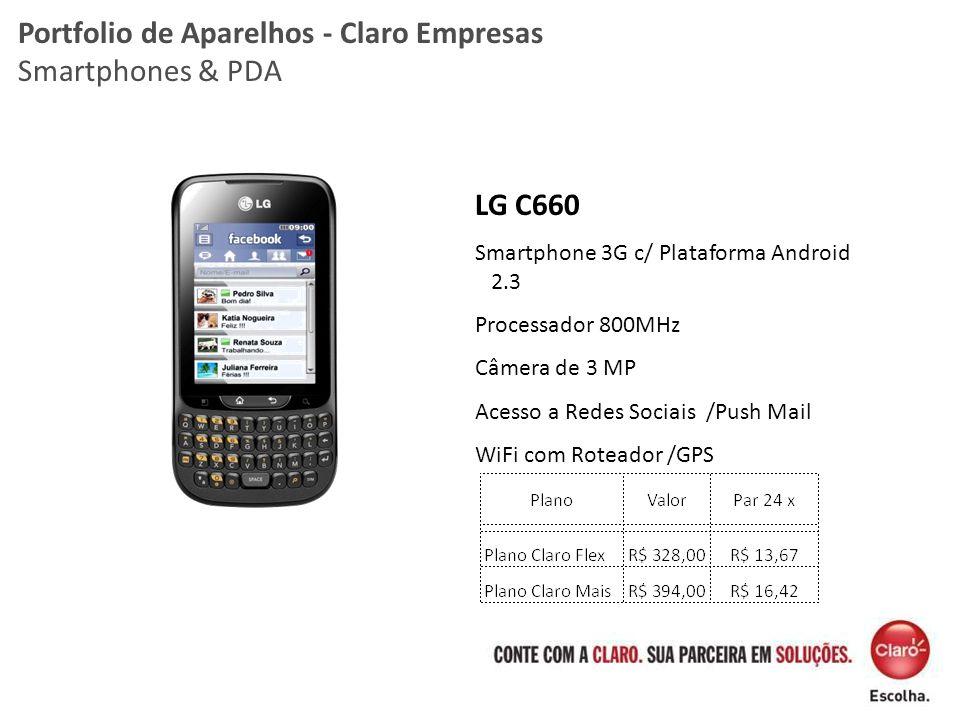 LG C660 Smartphone 3G c/ Plataforma Android 2.3 Processador 800MHz Câmera de 3 MP Acesso a Redes Sociais /Push Mail WiFi com Roteador /GPS Portfolio d