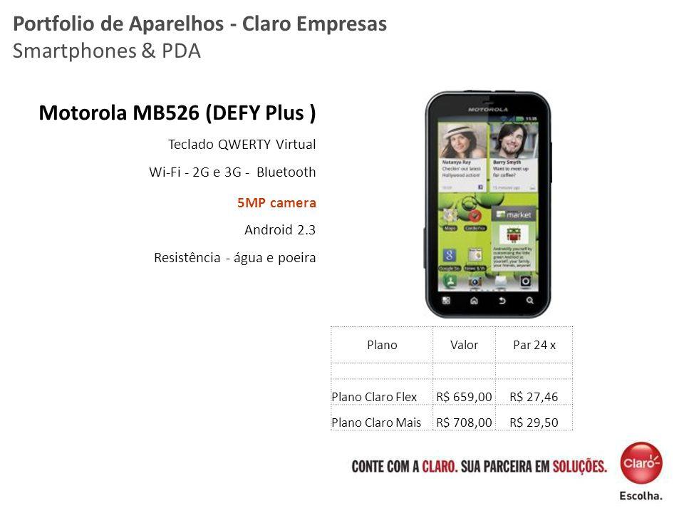 Motorola MB526 (DEFY Plus ) Teclado QWERTY Virtual Wi-Fi - 2G e 3G - Bluetooth 5MP camera Android 2.3 Resistência - água e poeira Portfolio de Aparelh