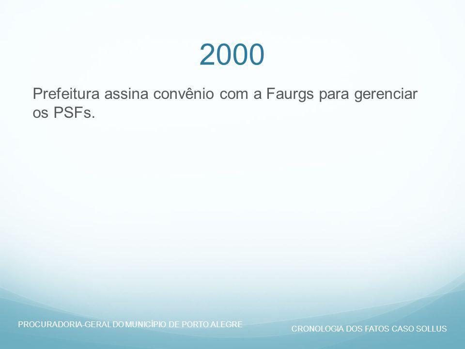 2000 Prefeitura assina convênio com a Faurgs para gerenciar os PSFs.