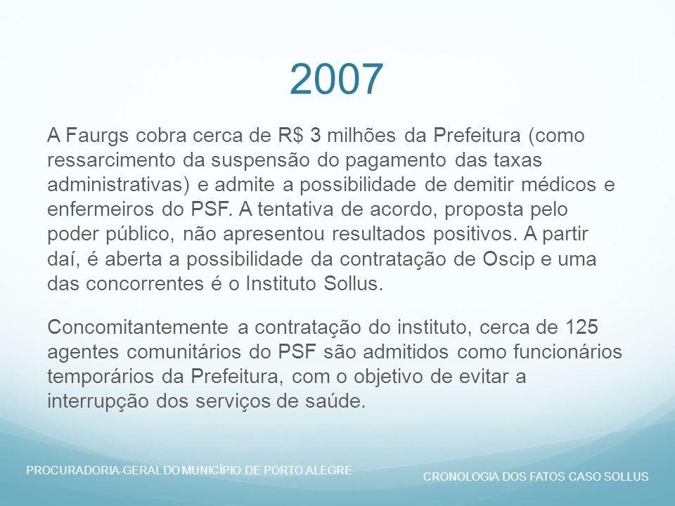 2007 A Faurgs cobra cerca de R$ 3 milhões da Prefeitura (como ressarcimento da suspensão do pagamento das taxas administrativas) e admite a possibilidade de demitir médicos e enfermeiros do PSF.