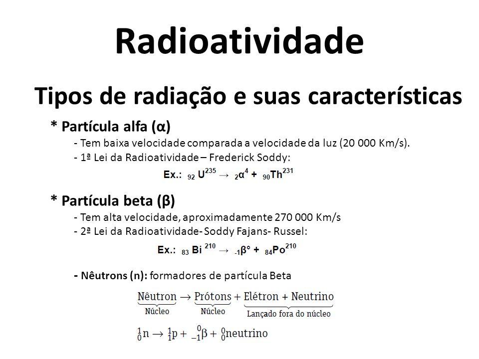 Tipos de radiação e suas características * Partícula alfa (α) - Tem baixa velocidade comparada a velocidade da luz (20 000 Km/s). - 1ª Lei da Radioati
