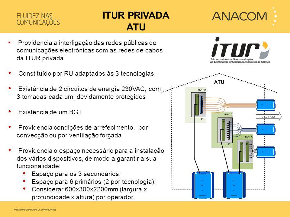 • Providencia a interligação das redes públicas de comunicações electrónicas com as redes de cabos da ITUR privada • Constituído por RU adaptados às 3