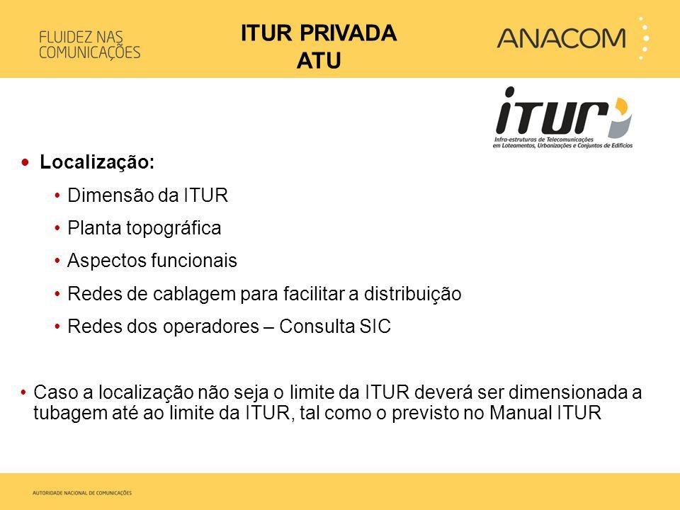 • Localização: •Dimensão da ITUR •Planta topográfica •Aspectos funcionais •Redes de cablagem para facilitar a distribuição •Redes dos operadores – Con