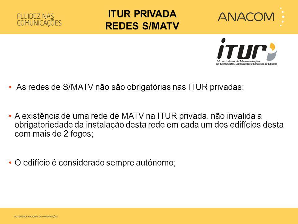 • As redes de S/MATV não são obrigatórias nas ITUR privadas; •A existência de uma rede de MATV na ITUR privada, não invalida a obrigatoriedade da inst