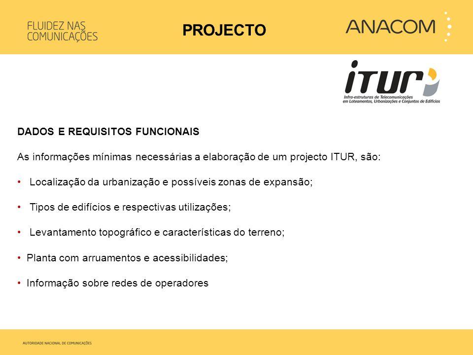 DADOS E REQUISITOS FUNCIONAIS As informações mínimas necessárias a elaboração de um projecto ITUR, são: • Localização da urbanização e possíveis zonas