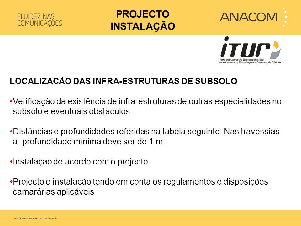 LOCALIZACÃO DAS INFRA-ESTRUTURAS DE SUBSOLO •Verificação da existência de infra-estruturas de outras especialidades no subsolo e eventuais obstáculos
