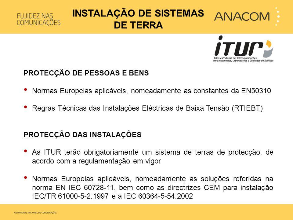 PROTECÇÃO DE PESSOAS E BENS • Normas Europeias aplicáveis, nomeadamente as constantes da EN50310 • Regras Técnicas das Instalações Eléctricas de Baixa