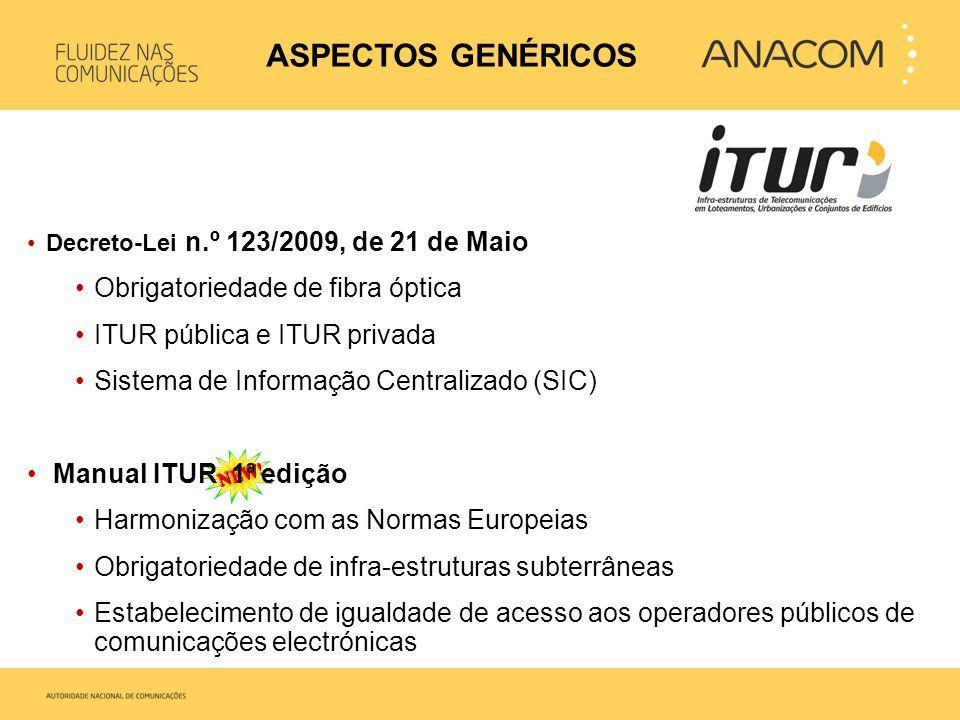 •Decreto-Lei n.º 123/2009, de 21 de Maio •Obrigatoriedade de fibra óptica •ITUR pública e ITUR privada •Sistema de Informação Centralizado (SIC) • Man