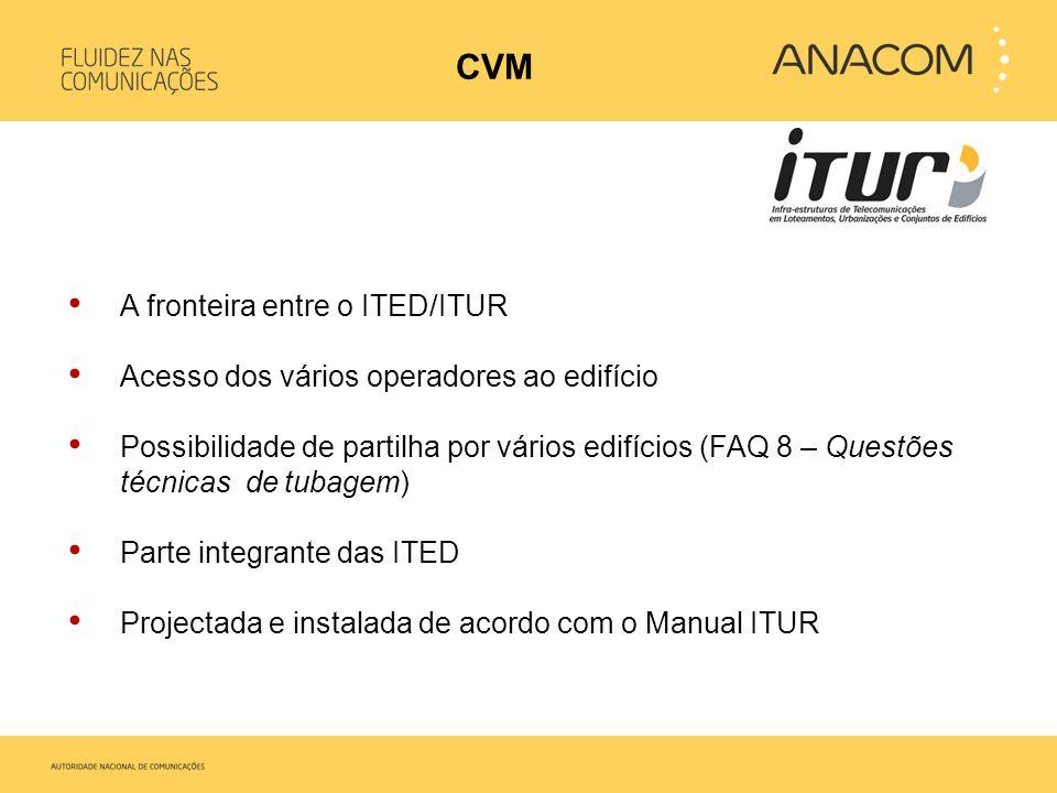 • A fronteira entre o ITED/ITUR • Acesso dos vários operadores ao edifício • Possibilidade de partilha por vários edifícios (FAQ 8 – Questões técnicas