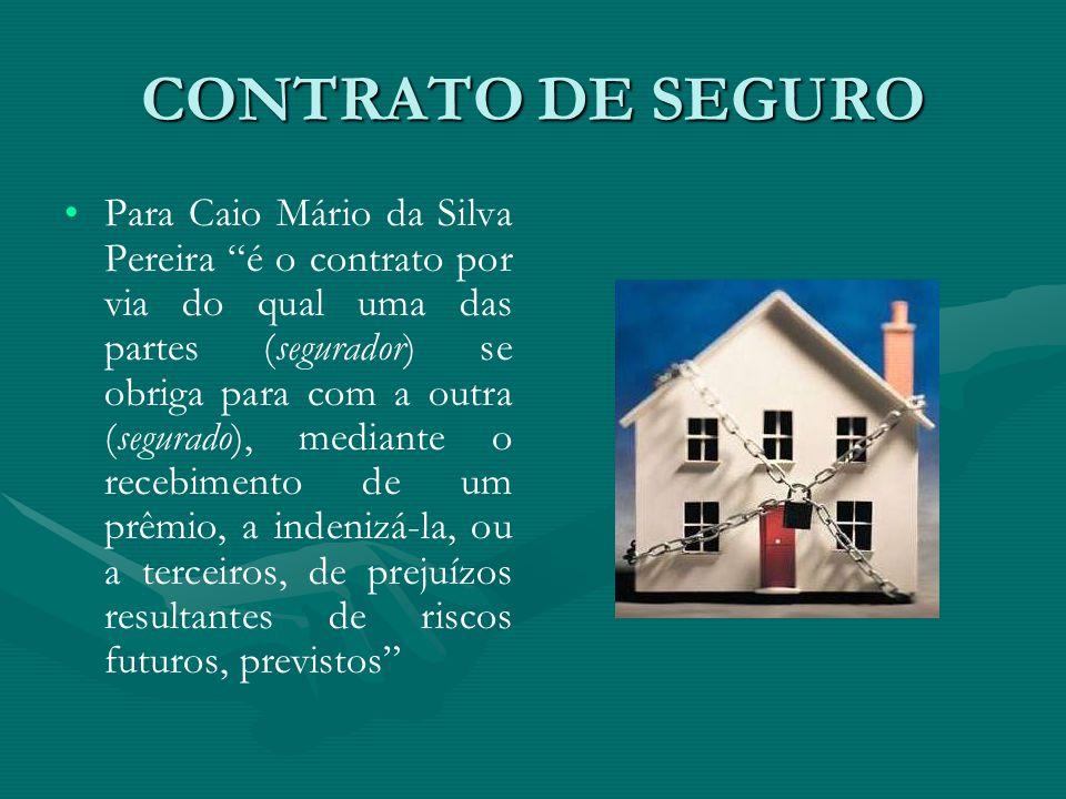 """CONTRATO DE SEGURO • •Para Caio Mário da Silva Pereira """"é o contrato por via do qual uma das partes (segurador) se obriga para com a outra (segurado),"""