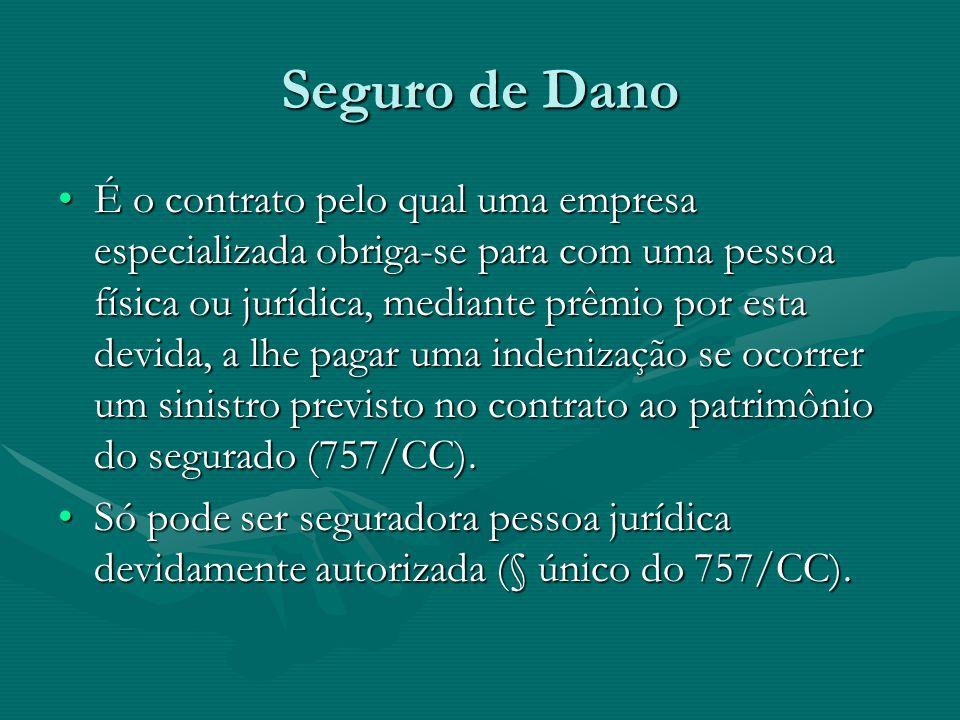 Seguro de Dano •É o contrato pelo qual uma empresa especializada obriga-se para com uma pessoa física ou jurídica, mediante prêmio por esta devida, a
