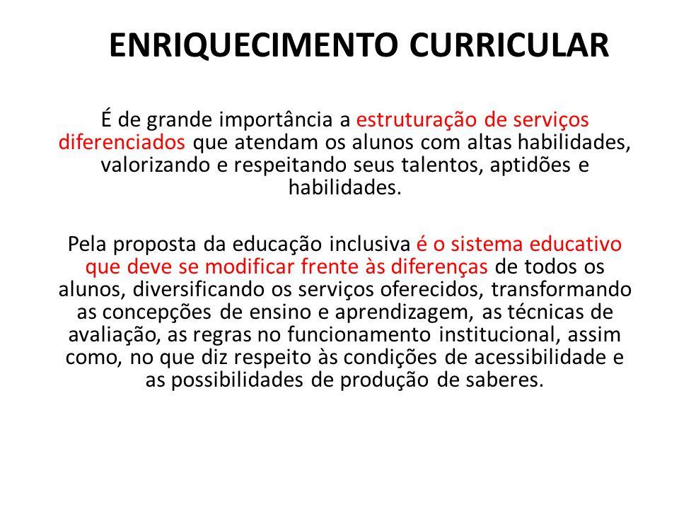 ENRIQUECIMENTO CURRICULAR É de grande importância a estruturação de serviços diferenciados que atendam os alunos com altas habilidades, valorizando e