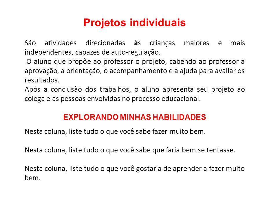 Projetos individuais São atividades direcionadas às crianças maiores e mais independentes, capazes de auto-regulação. O aluno que propõe ao professor