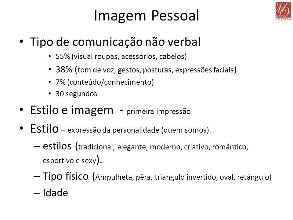 Imagem Pessoal • Tipo de comunicação não verbal • 55% (visual roupas, acessórios, cabelos) • 38% ( tom de voz, gestos, posturas, expressões faciais )