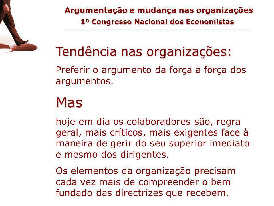 Argumentação e mudança nas organizações 1º Congresso Nacional dos Economistas tendência nas organizações Tendência nas organizações: Preferir o argumento da força à força dos argumentos.