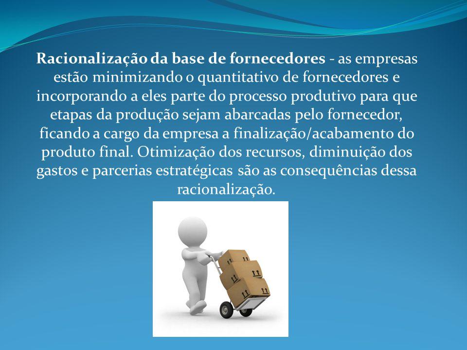 Racionalização da base de fornecedores - as empresas estão minimizando o quantitativo de fornecedores e incorporando a eles parte do processo produtiv