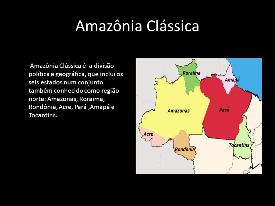 Amazônia Clássica Amazônia Clássica é a divisão política e geográfica, que inclui os seis estados num conjunto também conhecido como região norte: Ama