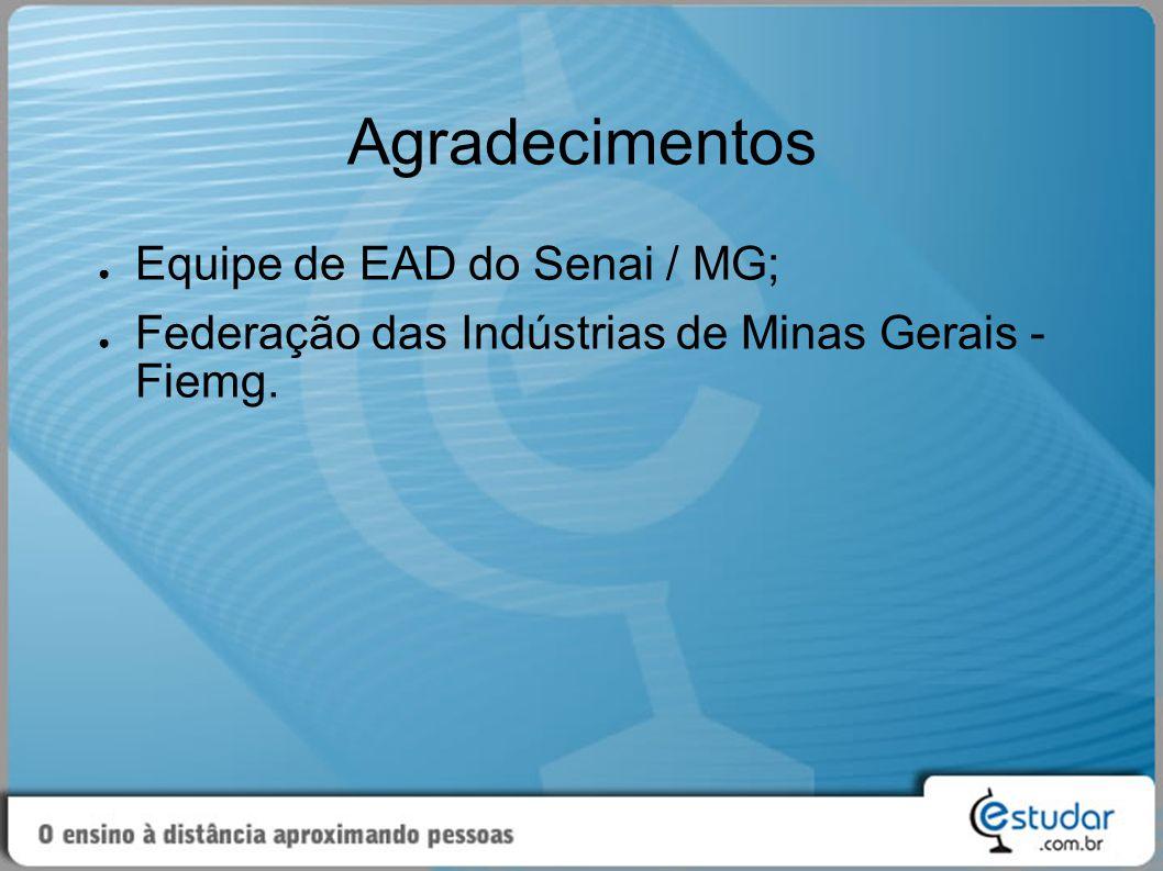 Agradecimentos ● Equipe de EAD do Senai / MG; ● Federação das Indústrias de Minas Gerais - Fiemg.