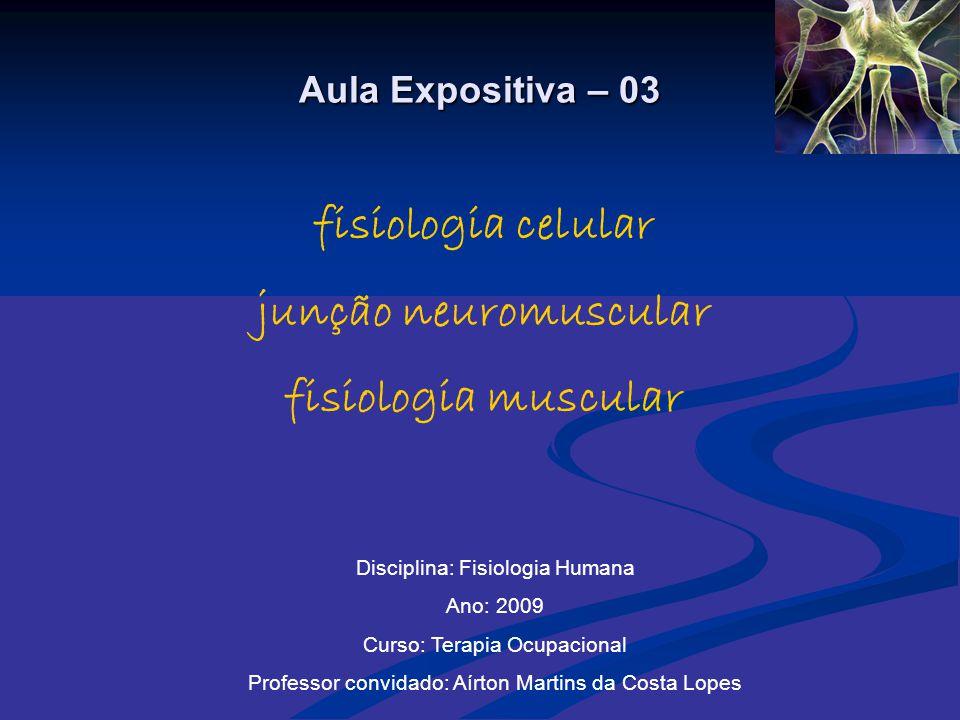 Aula Expositiva – 03 fisiologia celular junção neuromuscular fisiologia muscular Disciplina: Fisiologia Humana Ano: 2009 Curso: Terapia Ocupacional Pr