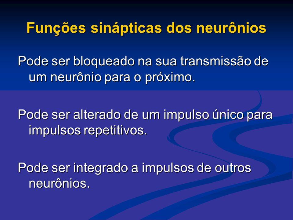 Funções sinápticas dos neurônios Pode ser bloqueado na sua transmissão de um neurônio para o próximo. Pode ser alterado de um impulso único para impul