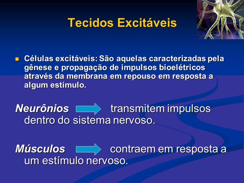 Tecidos Excitáveis  Células excitáveis: São aquelas caracterizadas pela gênese e propagação de impulsos bioelétricos através da membrana em repouso e