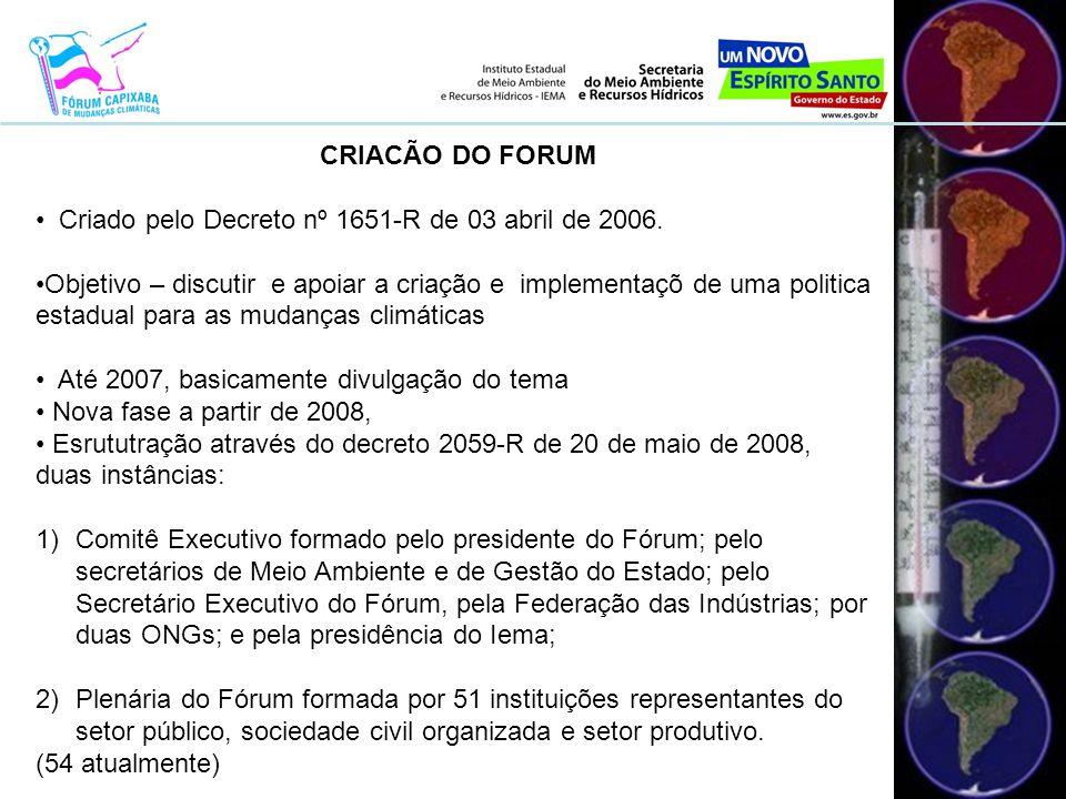 2008 • Composição do Fórum, posse dos integrantes e sensibilização da sociedade à importância das ações empreendidas.