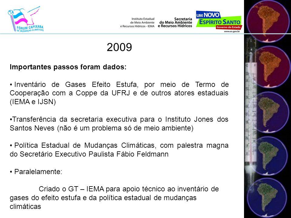 2009 Importantes passos foram dados: • Inventário de Gases Efeito Estufa, por meio de Termo de Cooperação com a Coppe da UFRJ e de outros atores estaduais (IEMA e IJSN) •Transferência da secretaria executiva para o Instituto Jones dos Santos Neves (não é um problema só de meio ambiente) • Política Estadual de Mudanças Climáticas, com palestra magna do Secretário Executivo Paulista Fábio Feldmann • Paralelamente: Criado o GT – IEMA para apoio técnico ao inventário de gases do efeito estufa e da política estadual de mudanças climáticas