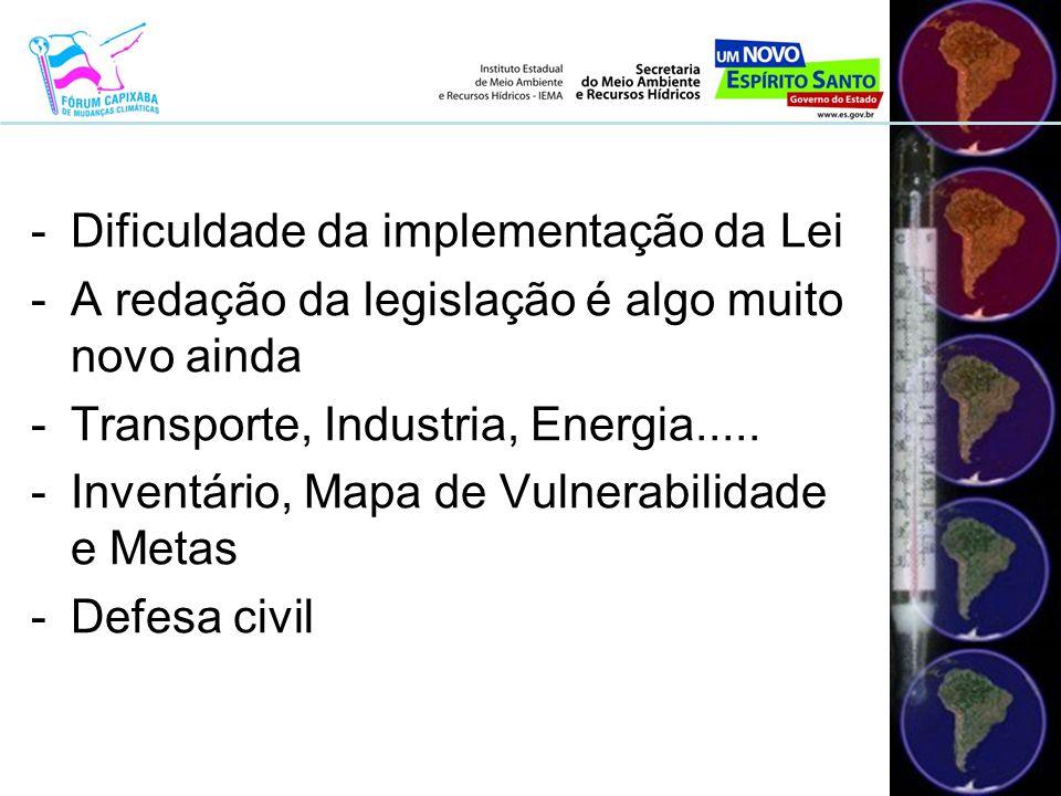 -Dificuldade da implementação da Lei -A redação da legislação é algo muito novo ainda -Transporte, Industria, Energia.....