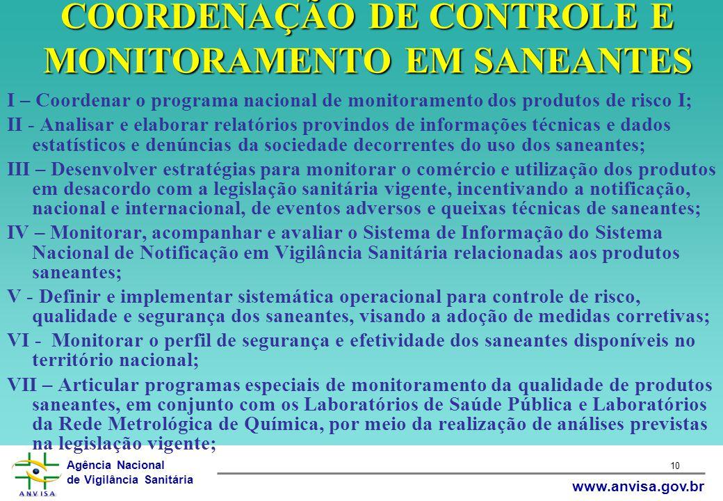 Agência Nacional de Vigilância Sanitária www.anvisa.gov.br 10 COORDENAÇÃO DE CONTROLE E MONITORAMENTO EM SANEANTES I – Coordenar o programa nacional d
