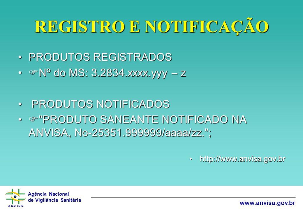 Agência Nacional de Vigilância Sanitária www.anvisa.gov.br REGISTRO E NOTIFICAÇÃO •PRODUTOS REGISTRADOS •  Nº do MS: 3.2834.xxxx.yyy – z • PRODUTOS N