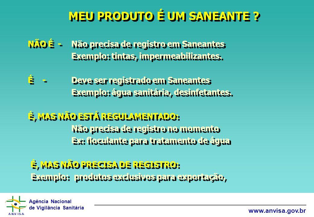 Agência Nacional de Vigilância Sanitária www.anvisa.gov.br MEU PRODUTO É UM SANEANTE ? NÃO É -Não precisa de registro em Saneantes Exemplo: tintas, im