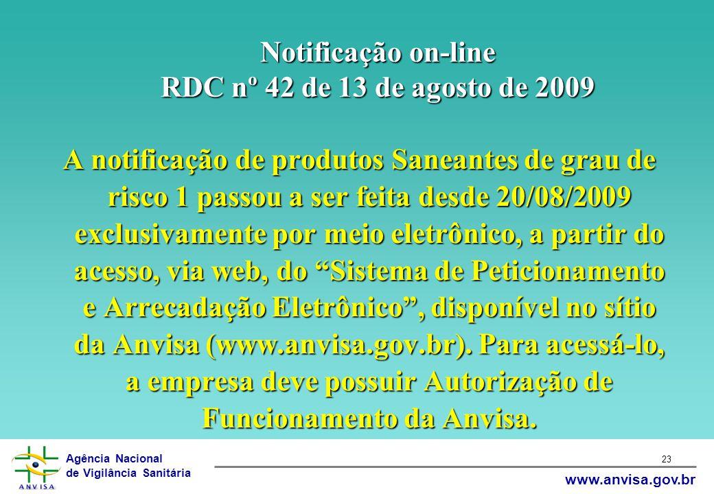 Agência Nacional de Vigilância Sanitária www.anvisa.gov.br 23 Notificação on-line RDC nº 42 de 13 de agosto de 2009 A notificação de produtos Saneante