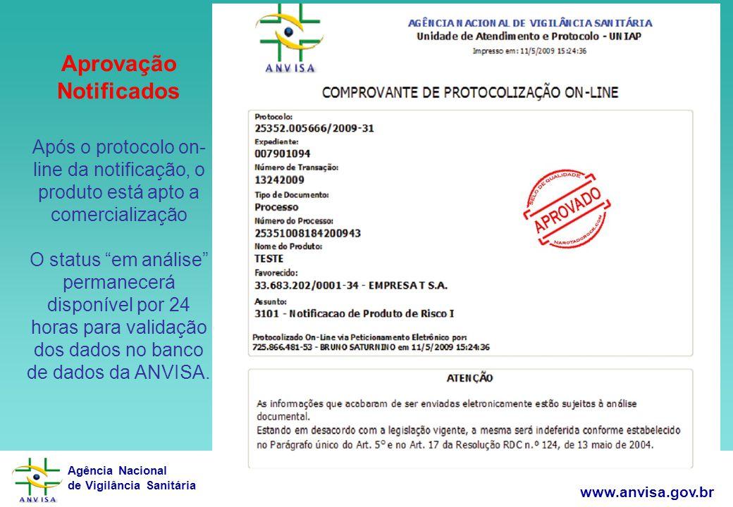 Agência Nacional de Vigilância Sanitária www.anvisa.gov.br 25 Aprovação Notificados Após o protocolo on- line da notificação, o produto está apto a co