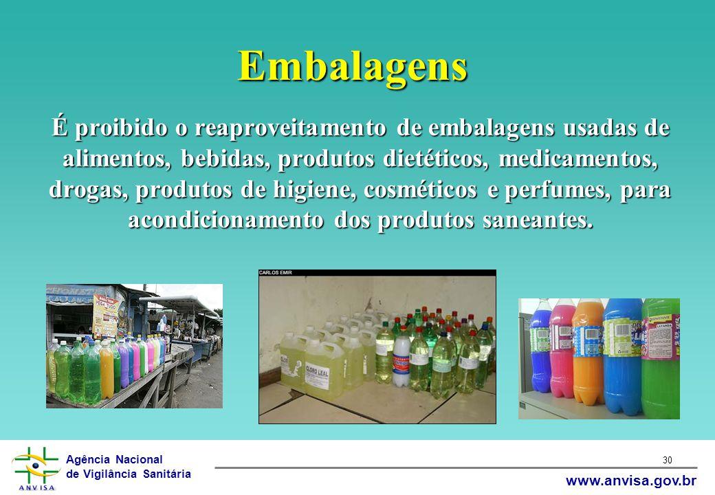 Agência Nacional de Vigilância Sanitária www.anvisa.gov.br 30 Embalagens É proibido o reaproveitamento de embalagens usadas de alimentos, bebidas, pro