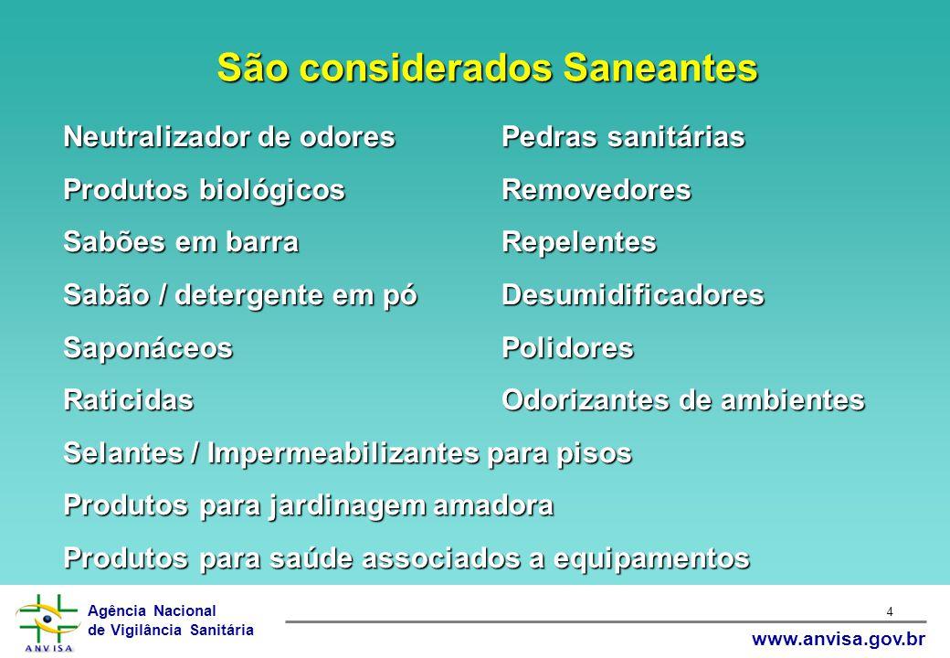 Agência Nacional de Vigilância Sanitária www.anvisa.gov.br 4 Neutralizador de odoresPedras sanitárias Produtos biológicosRemovedores Sabões em barraRe