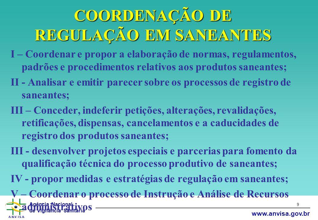 Agência Nacional de Vigilância Sanitária www.anvisa.gov.br 9 COORDENAÇÃO DE REGULAÇÃO EM SANEANTES I – Coordenar e propor a elaboração de normas, regu