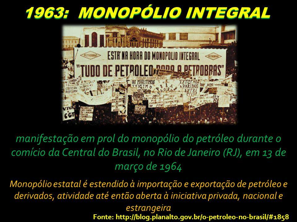 1963: MONOPÓLIO INTEGRAL manifestação em prol do monopólio do petróleo durante o comício da Central do Brasil, no Rio de Janeiro (RJ), em 13 de março de 1964 Monopólio estatal é estendido à importação e exportação de petróleo e derivados, atividade até então aberta à iniciativa privada, nacional e estrangeira Fonte: http://blog.planalto.gov.br/o-petroleo-no-brasil/#1858