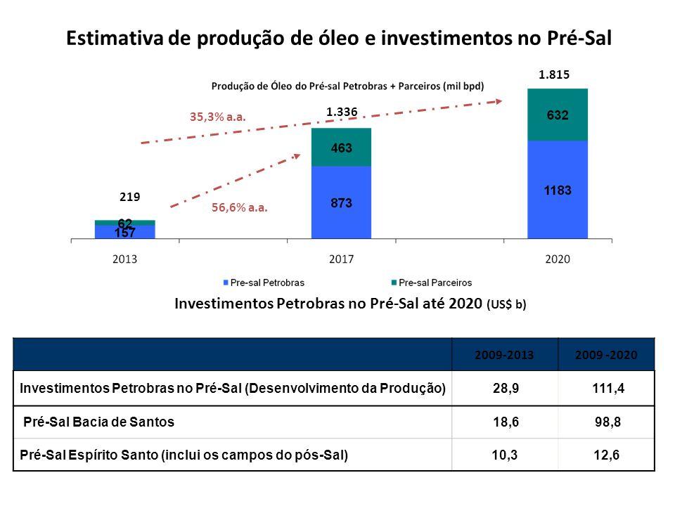 Estimativa de produção de óleo e investimentos no Pré-Sal 2009-20132009 -2020 Investimentos Petrobras no Pré-Sal (Desenvolvimento da Produção) 28,9 111,4 Pré-Sal Bacia de Santos 18,6 98,8 Pré-Sal Espírito Santo (inclui os campos do pós-Sal)10,312,6 Investimentos Petrobras no Pré-Sal até 2020 (US$ b) 56,6% a.a.