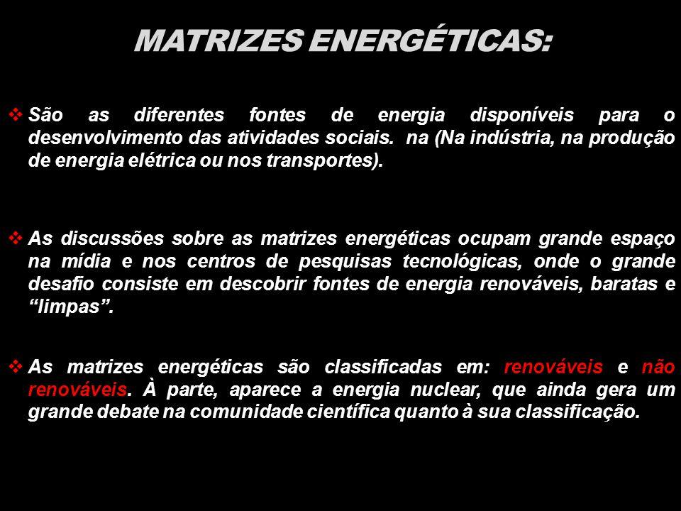 MATRIZES ENERGÉTICAS:  São as diferentes fontes de energia disponíveis para o desenvolvimento das atividades sociais.