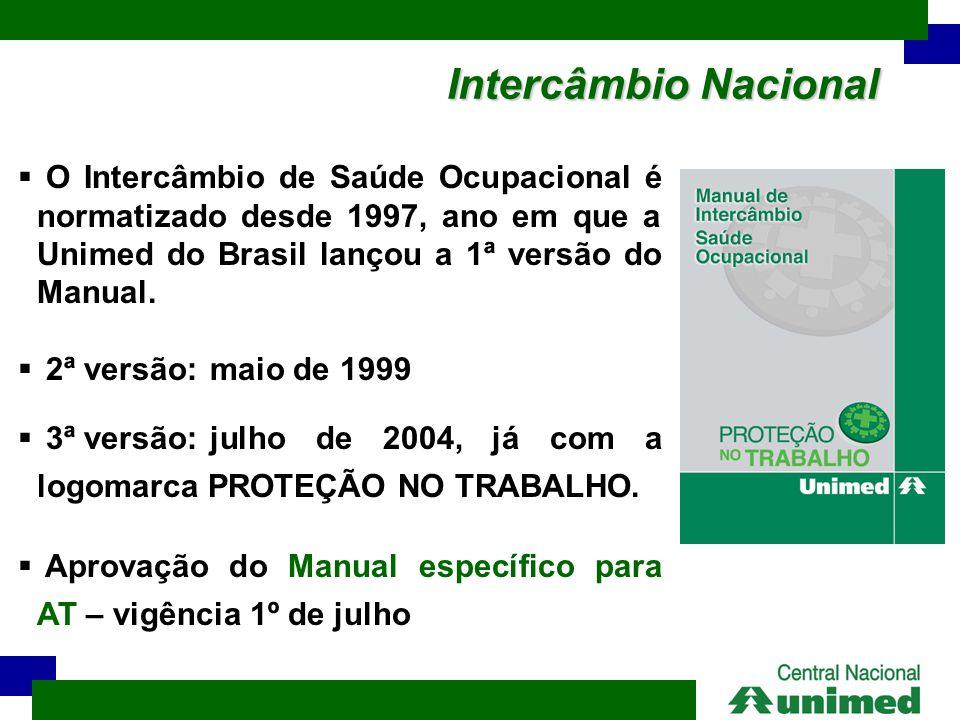 Intercâmbio Nacional  O Intercâmbio de Saúde Ocupacional é normatizado desde 1997, ano em que a Unimed do Brasil lançou a 1ª versão do Manual.  2ª v