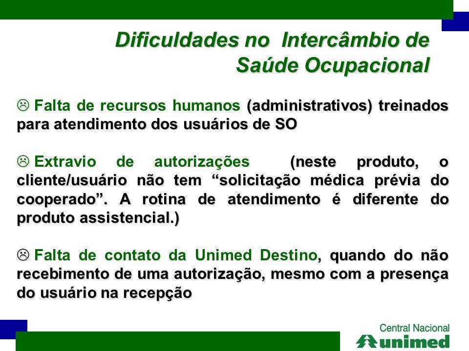 Dificuldades no Intercâmbio de Saúde Ocupacional  (administrativos) treinados para atendimento dos usuários de SO  Falta de recursos humanos (admini
