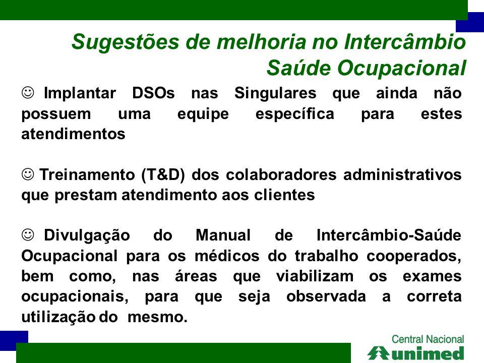 Sugestões de melhoria no Intercâmbio Saúde Ocupacional  Implantar DSOs nas Singulares que ainda não possuem uma equipe específica para estes atendime