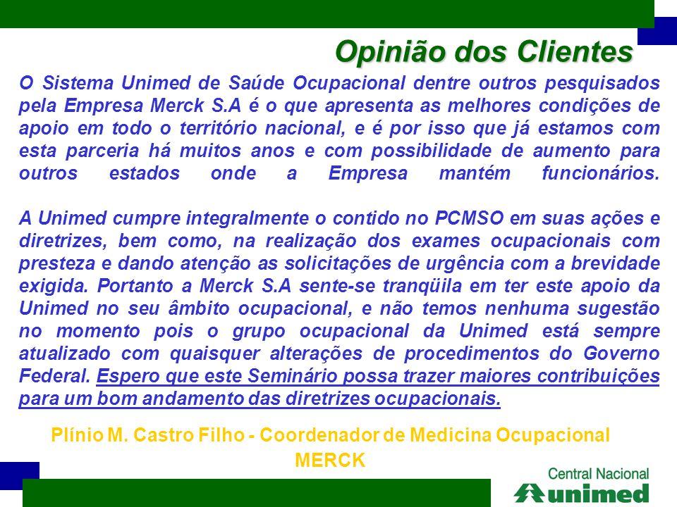 Opinião dos Clientes O Sistema Unimed de Saúde Ocupacional dentre outros pesquisados pela Empresa Merck S.A é o que apresenta as melhores condições de