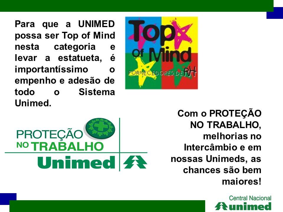 Para que a UNIMED possa ser Top of Mind nesta categoria e levar a estatueta, é importantíssimo o empenho e adesão de todo o Sistema Unimed. Com o PROT
