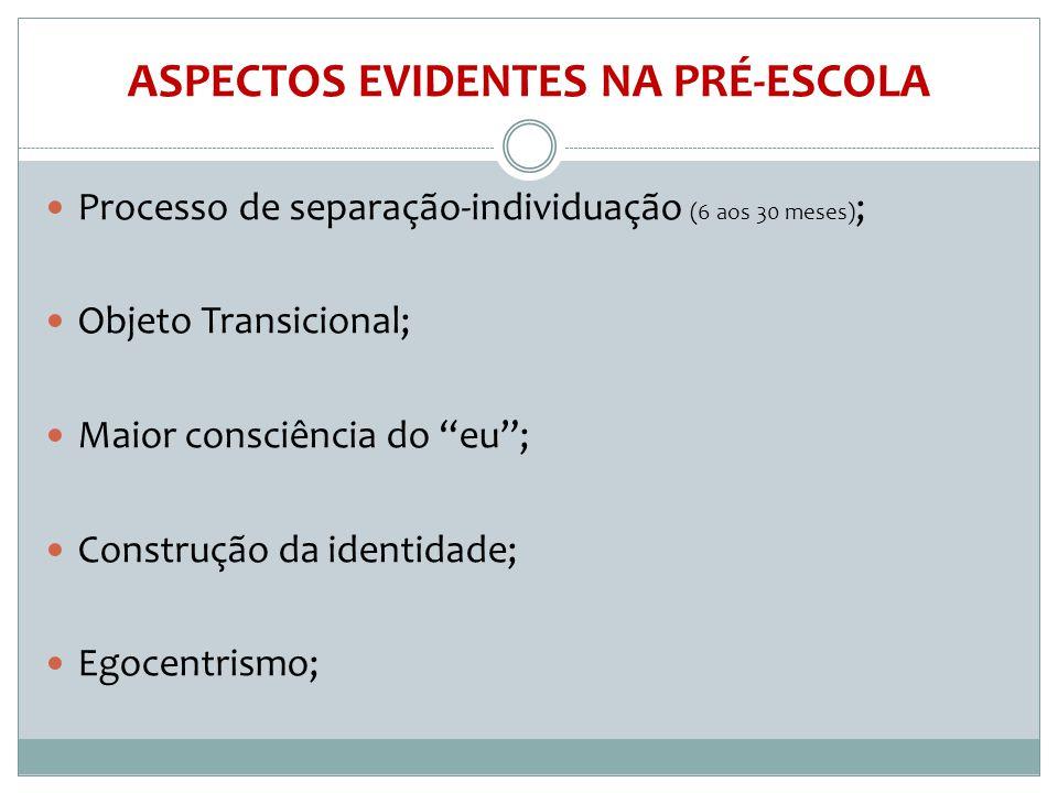 """ASPECTOS EVIDENTES NA PRÉ-ESCOLA  Processo de separação-individuação (6 aos 30 meses) ;  Objeto Transicional;  Maior consciência do """"eu"""";  Constru"""