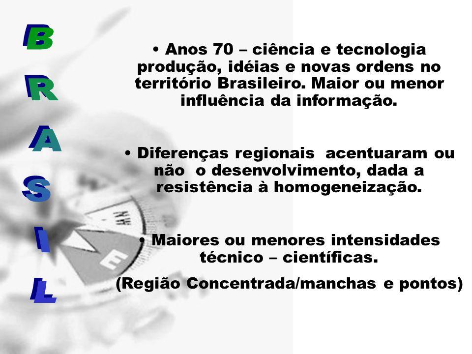 • Anos 70 – ciência e tecnologia produção, idéias e novas ordens no território Brasileiro. Maior ou menor influência da informação. • Diferenças regio