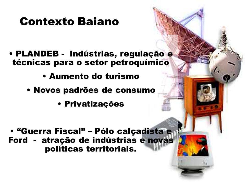 Contexto Baiano • PLANDEB - Indústrias, regulação e técnicas para o setor petroquímico • Aumento do turismo • Novos padrões de consumo • Privatizações