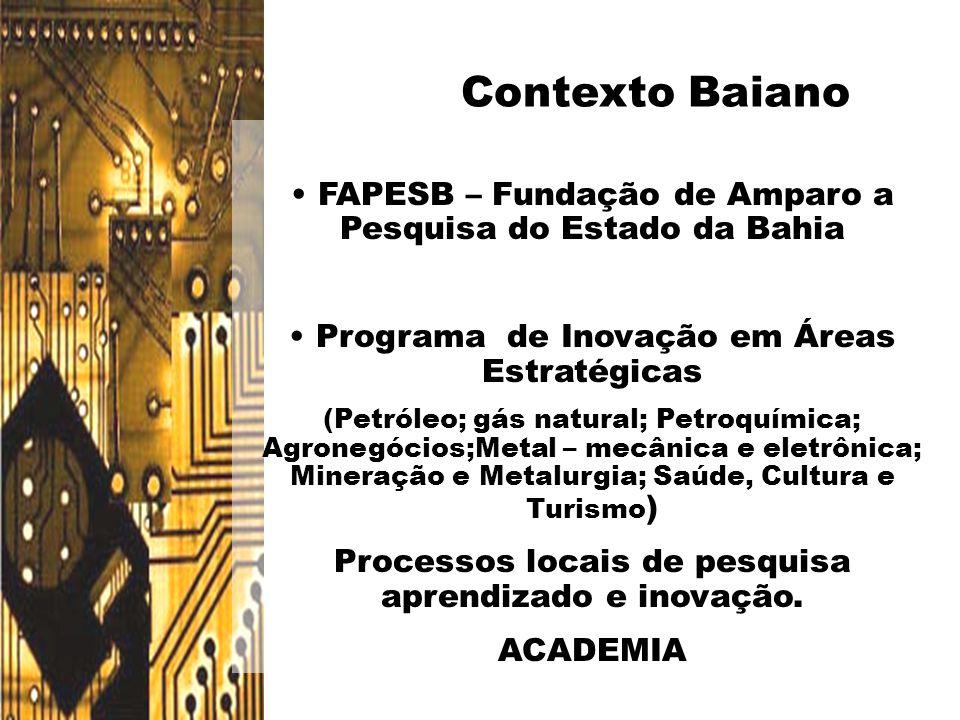 • FAPESB – Fundação de Amparo a Pesquisa do Estado da Bahia • Programa de Inovação em Áreas Estratégicas (Petróleo; gás natural; Petroquímica; Agroneg