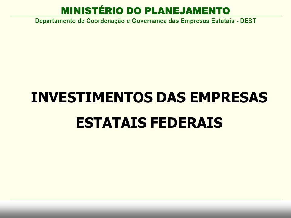 MINISTÉRIO DO PLANEJAMENTO Departamento de Coordenação e Governança das Empresas Estatais - DEST INVESTIMENTOS DAS EMPRESAS ESTATAIS FEDERAIS